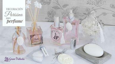 Tutorial para hacer una decoracion parisina en botellas, perfumes, saquitos aromaticos y jaboneras