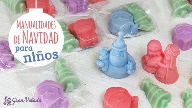 Tutorial para hacer manualidades de Navidad para niños de jabón de glicerina con vídeo..