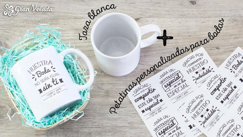 Tazas para detalles de boda hechos a mano