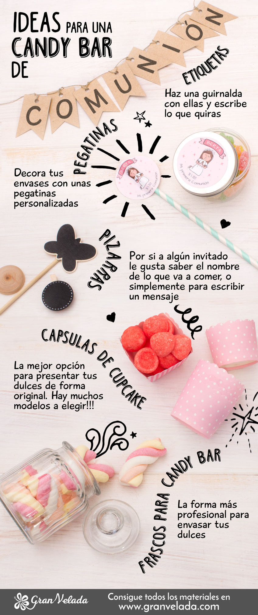 Como hacer candy bar comunion