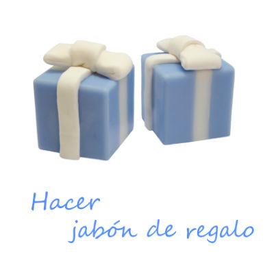 Hacer jabón con forma de caja de regalo para detalles de comunión, boda o bautizo