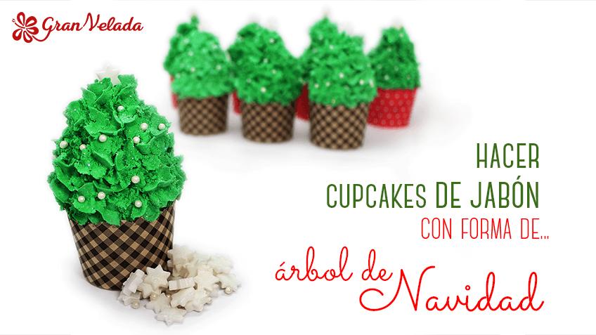 Hacer cupcake de jabón con forma de árbol de navidad