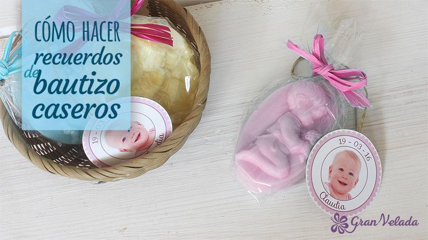 Detalles para bautizos de jabón caseros personalizados en forma, color y aroma.