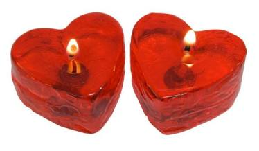 Velas de Gel hechas con molde de Silicona Industrial Corazón.