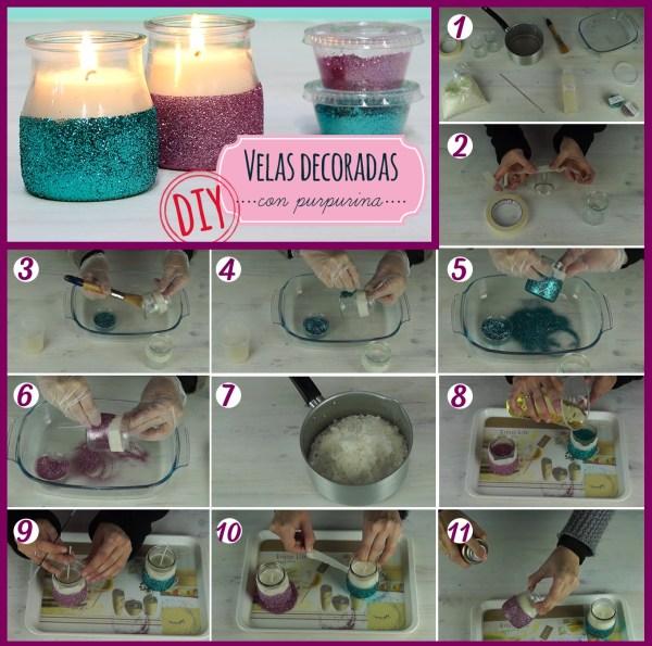 Hacer velas decoradas con purpurina paso a paso
