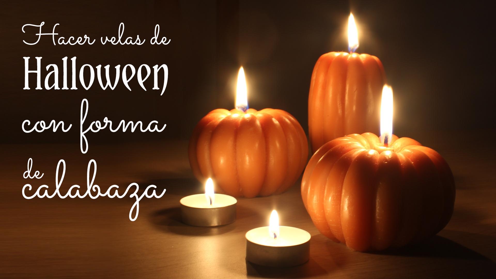 Hacer velas de halloween con forma de calabaza
