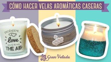 Materiales e infografía para hacer velas aromáticas.