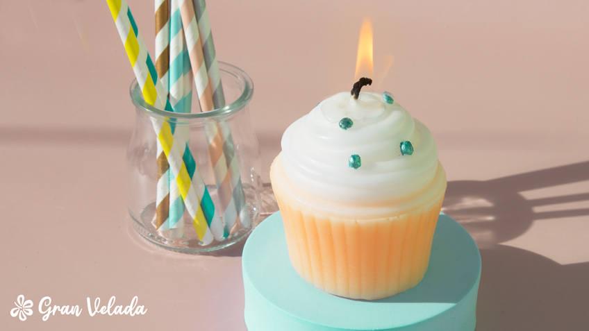 Vela de cupcake para cumpleaños