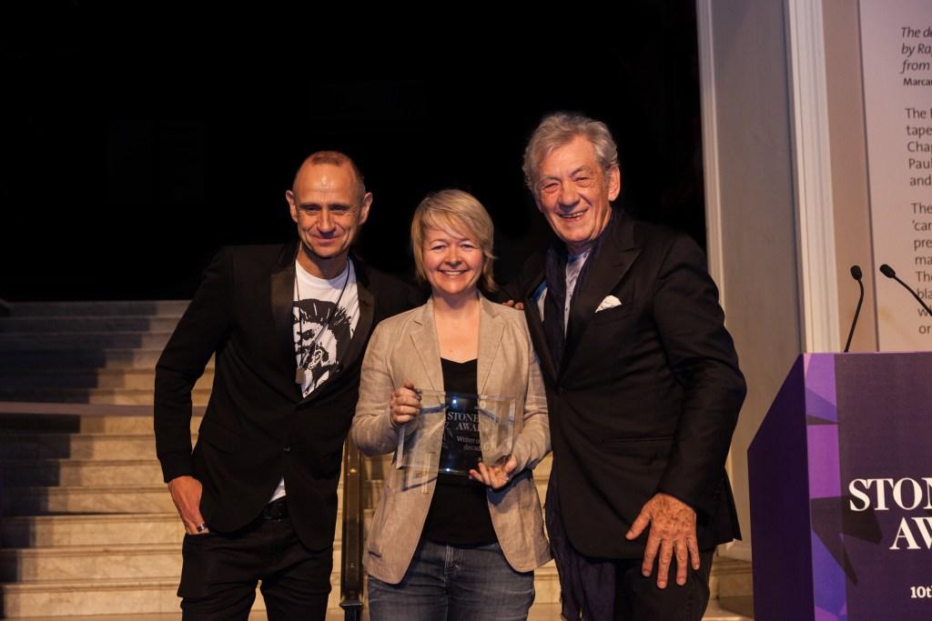 Evan Davies, Sarah Waters and Sir Ian McKellan at the 2015 Stonewall Awards.