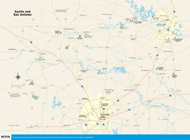 Travel map of Austin, San Antonio & the Hill Country