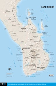 Map of the Cape Region of Baja California Sur, Mexico