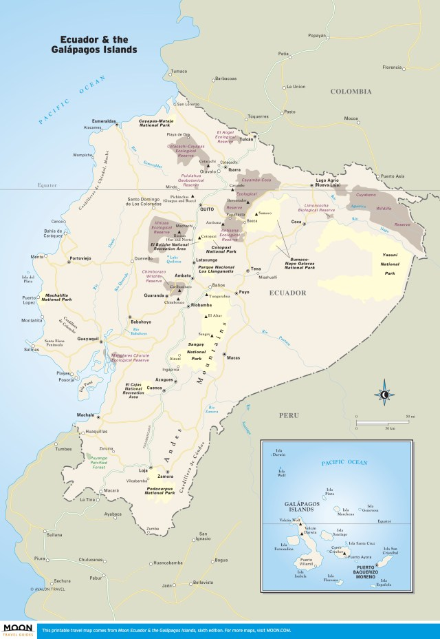 Travel map of Ecuador & the Galápagos Islands