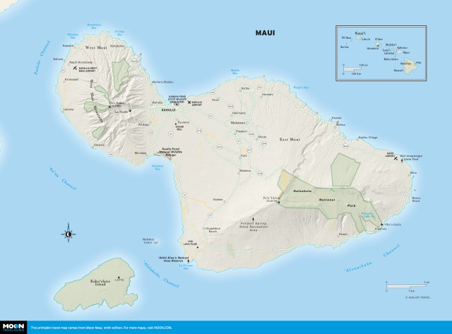 Color Map of Maui, Hawaii