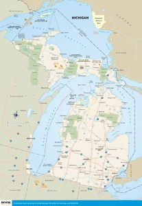 Travel map of the state of Michigan.