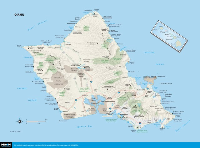 Map of O'ahu, Hawaii