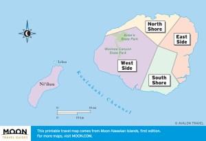Travel maps of Kauai by region