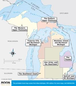 Michigan travel maps by region.