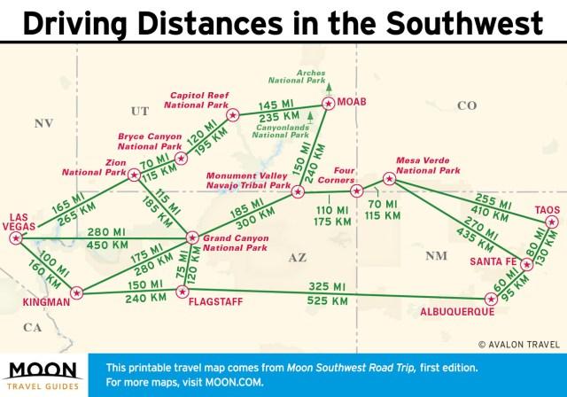 Travel map - Southwest Road Trip Driving Distances
