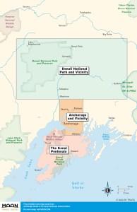 Anchorage, Denali & The Kenai Peninsula travel maps by region.