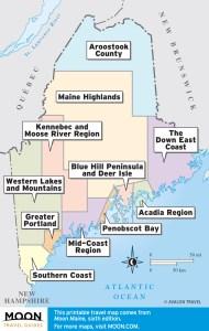 Maine travel maps by region.