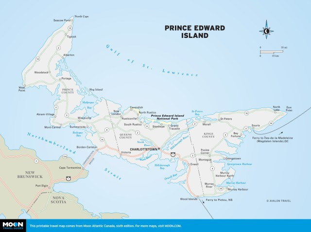 Travel map of Prince Edward Island