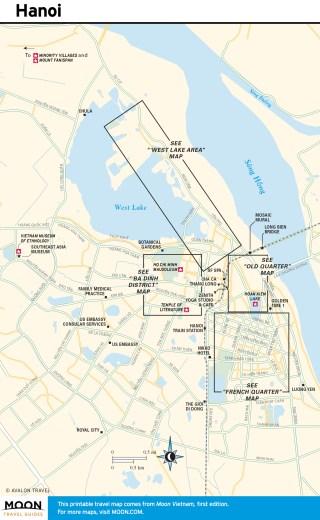 Travel map of Hanoi in Vietnam
