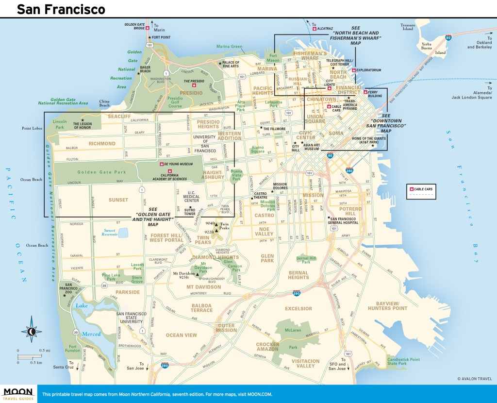 Travel map of San Francisco