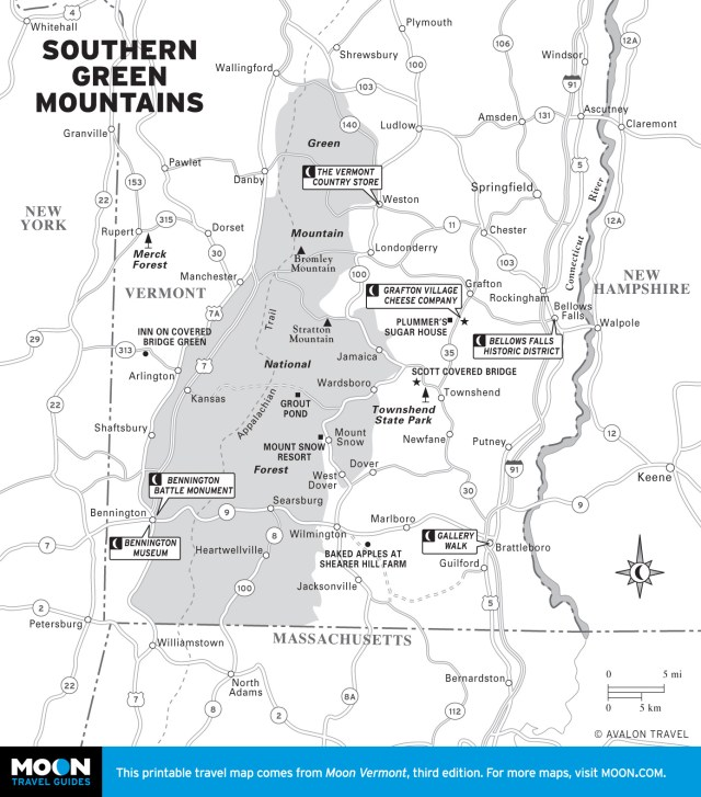 Map of Southern Green Mountains, Vermont