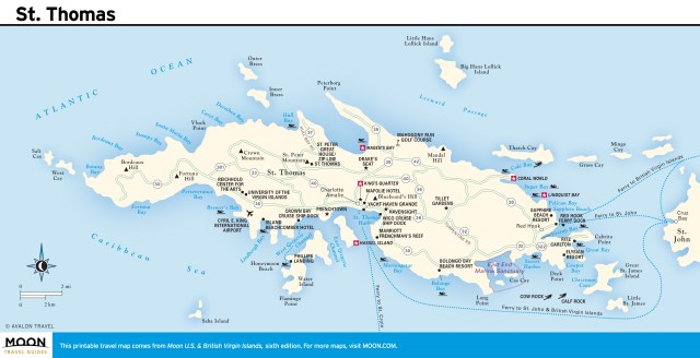 Travel map of St. Thomas, Virgin Islands