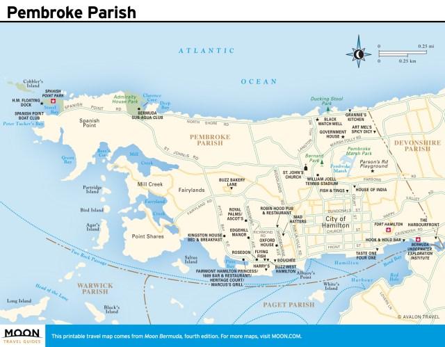 Travel map of Pembroke Parish, Bermuda