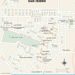 Color travel map of San Isidro, Peru