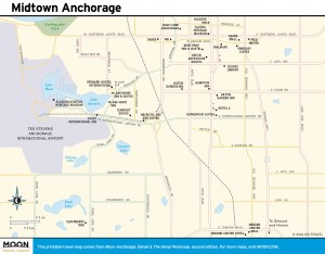 Travel map of Midtown Anchorage, Alaska