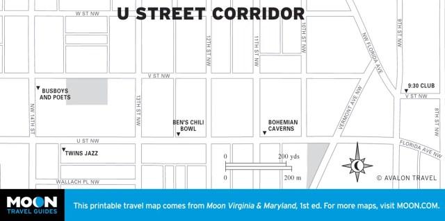 Map of the U Street Corridor in Washington DC