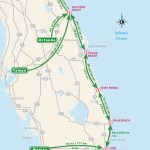 Travel map of Driving Distances to the Atlantic Coast of Florida