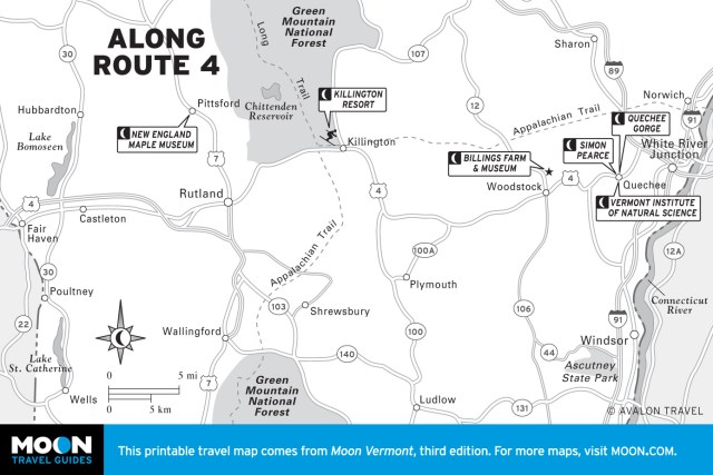 Map of Along Route 4 in Vermont
