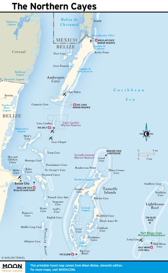 Map of The Northern Cayes, Belize