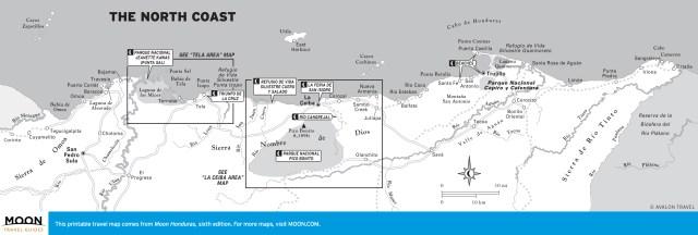 Map of The North Coast of Honduras
