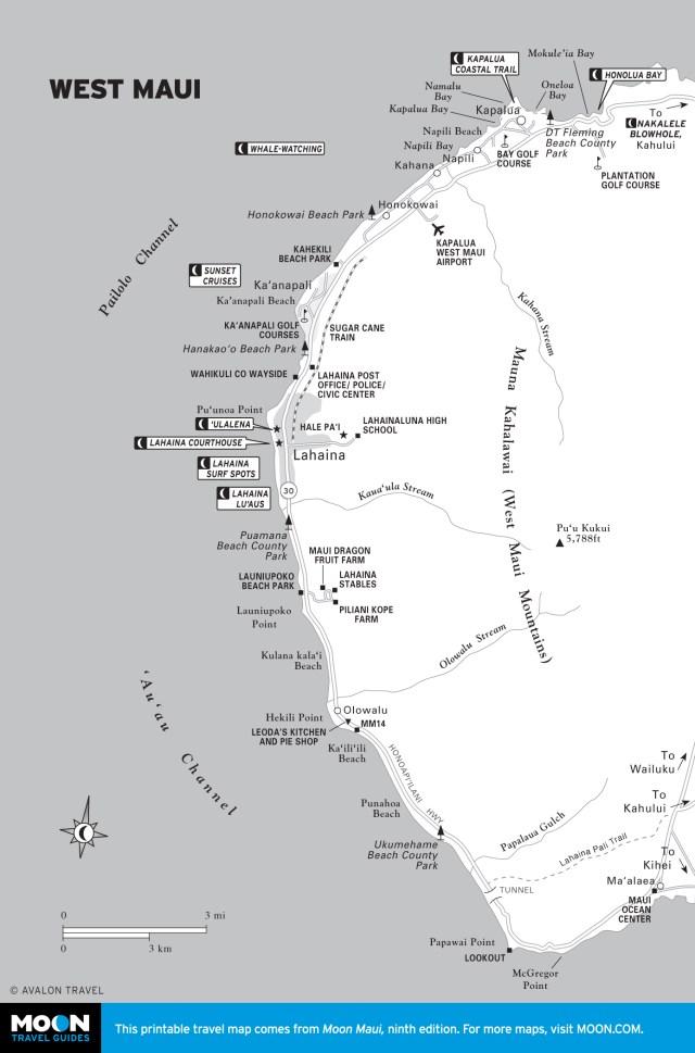 Map of West Maui, Hawaii