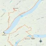 Travel map of Bowman Lake Trails
