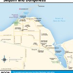 Travel map of Sequim and Dungeness Valley.