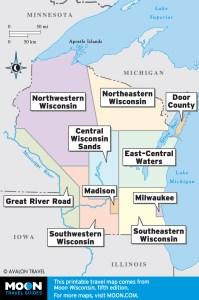 Wisconsin travel maps by region.