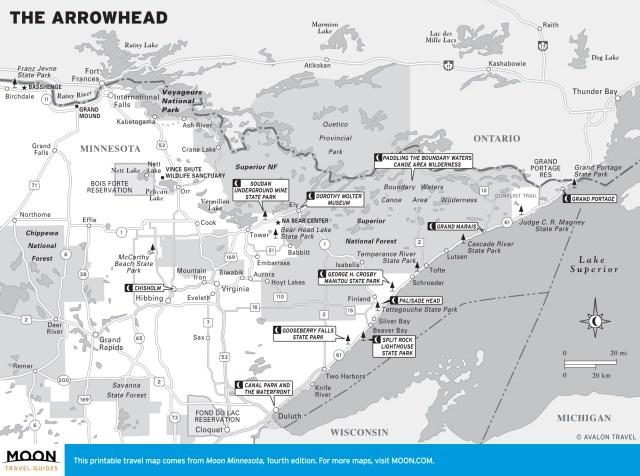 Travel map of The Arrowhead, Minnesota