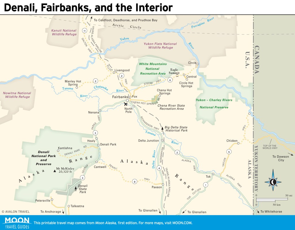 Travel map of Denali, Fairbanks, and the Interior