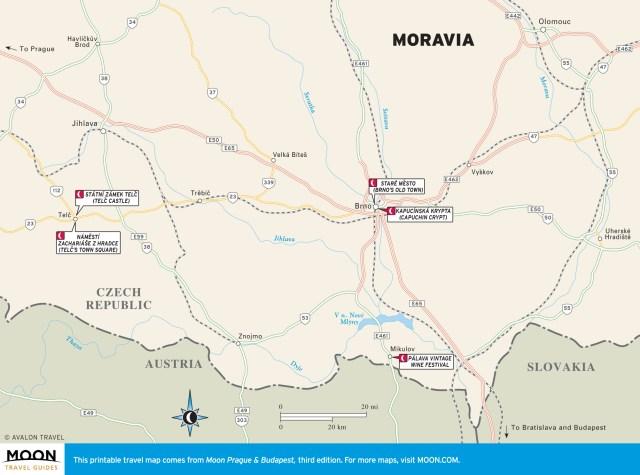 Travel map of Moravia, Czech Republic