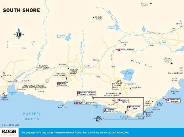 Travel map of the South Shore of Kaua'i, Hawaii