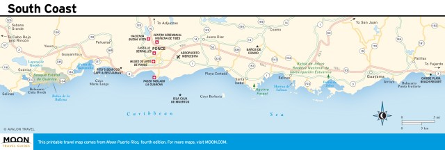 Travel map of South Coast, Puerto Rico