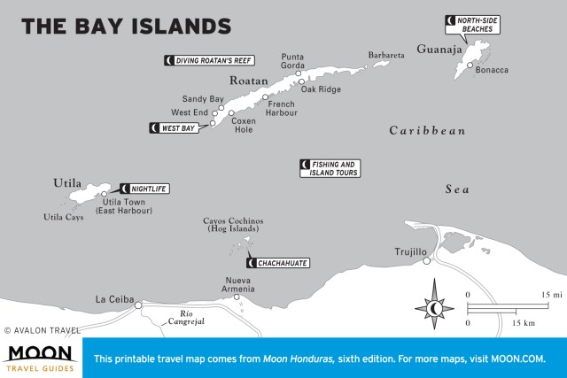 Map of The Bay Islands, Honduras