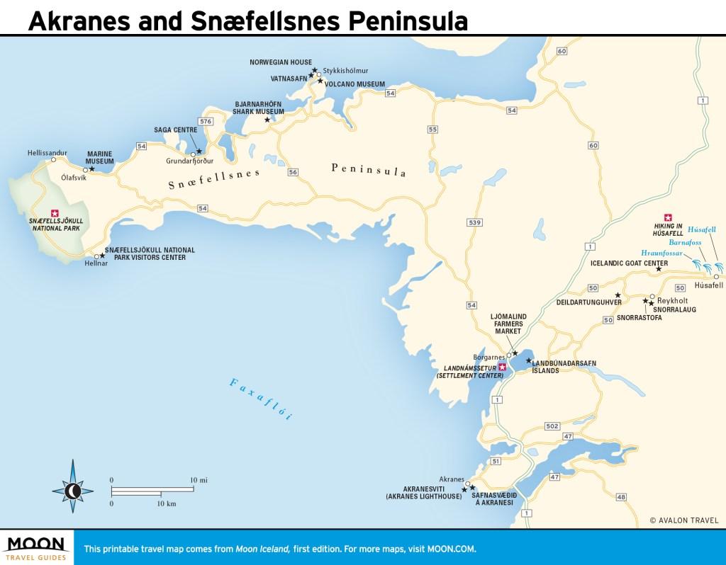 Travel map of Akranes and Snæfellsnes Peninsula