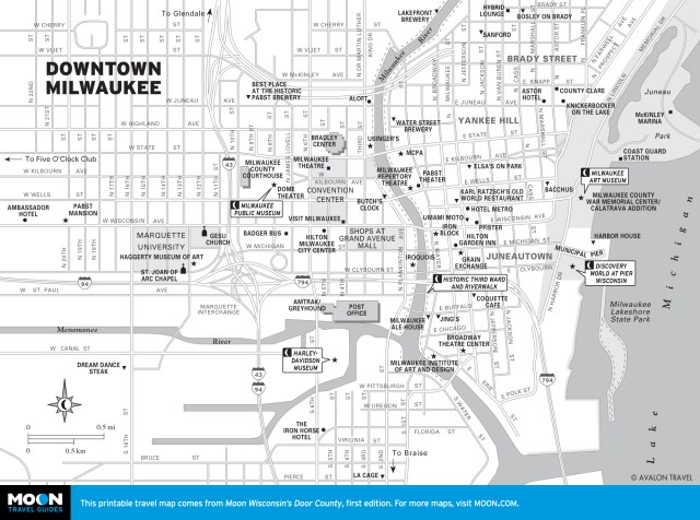 Map of Downtown Milwaukee, Wisconsin