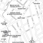 Travel map of King William Historic District, San Antonio, Texas